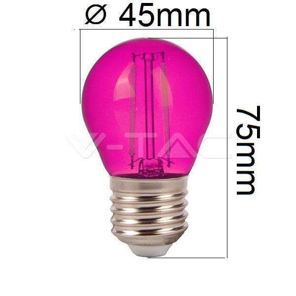 Barevná LED žárovka E27 2W 60lm fialová, filament, ekvivalent 10W