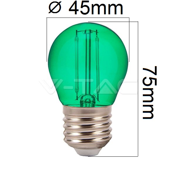 Barevná LED žárovka E27 2W 60lm zelená, filament, ekvivalent 10W