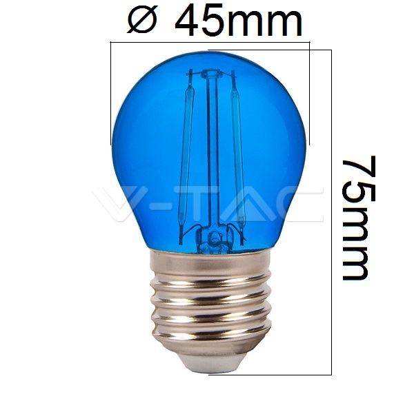 Barevná LED žárovka E27 2W 60lm modrá, filament, ekvivalent 10W