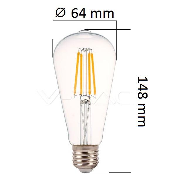 Retro LED žárovka E27 4W 490lm teplá, filament, ekvivalent 35W