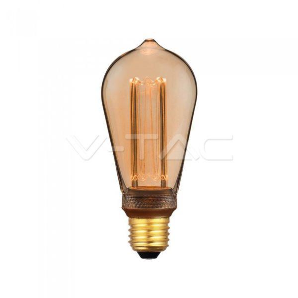 Retro LED žárovka E27 4W 200lm extra teplá, filament, ekvivalent 20W