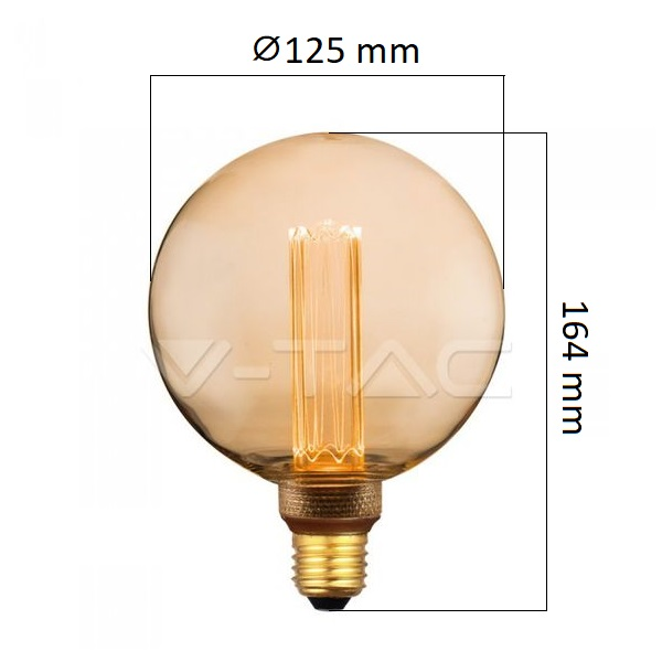 Retro LED žárovka E27 4W 200lm G125 extra teplá, filament, ekvivalent 20W