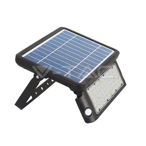 Solární LED reflektor černý s čidlem pohybu 10W 1100lm, denní