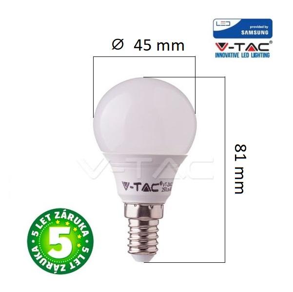 Prémiová LED žárovka E14 SAMSUNG čipy 7W 600lm G45 teplá, 5 let