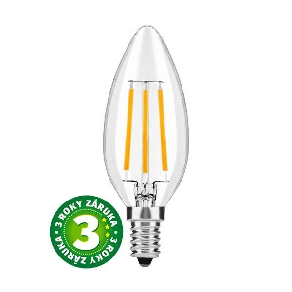 Retro LED žárovka E14 4W 465lm teplá, filament, 3 roky