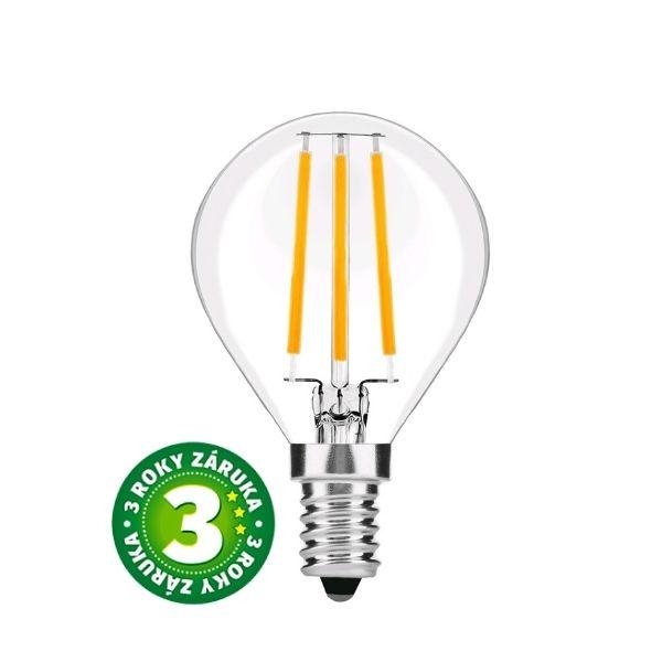 Prémiová retro LED žárovka E14 4W 470lm G45 teplá, filament, 3 roky