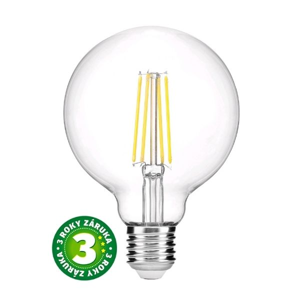 Prémiová retro LED žárovka E27 8W 800lm G95 teplá, filament, 3 roky