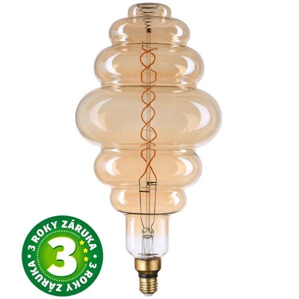 Stmívatelná prémiová retro MAXI LED žárovka E27 8W 500lm, extra teplá, filament, 3 roky