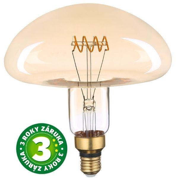 Stmívatelná prémiová retro MAXI LED žárovka E27 6W 300lm, extra teplá, filament, 3 roky