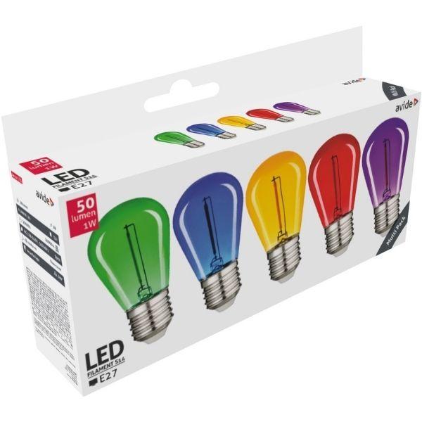 Sada retro barevných LED žárovek E27 0,6W 50lm - zelená, modrá, žlutá, červená, fialová