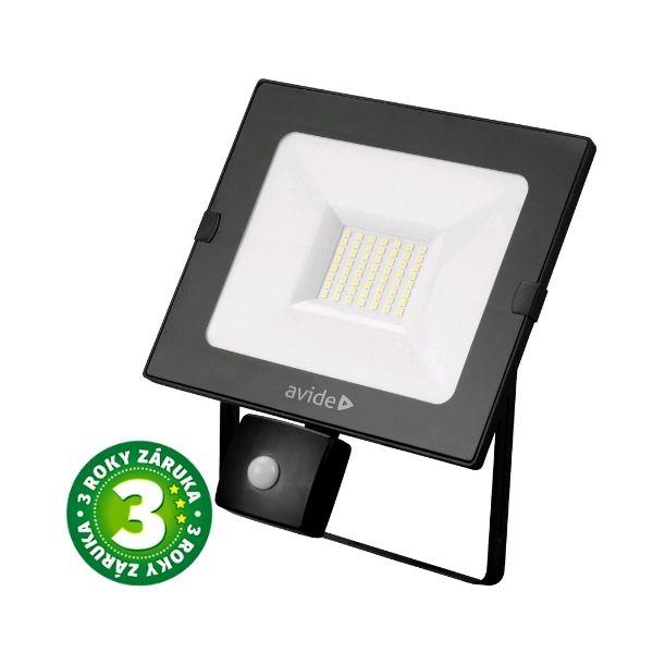 Prémiový ultratenký LED reflektor s čidlem pohybu bílý  30W 2250lm, denní, 3 roky