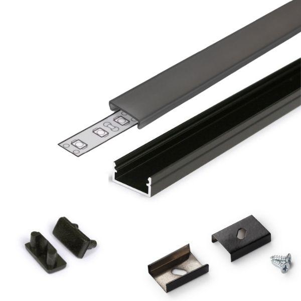 Černý hliníkový profil pro 8, 10 a 12mm LED pásky, 1m kouřový kryt