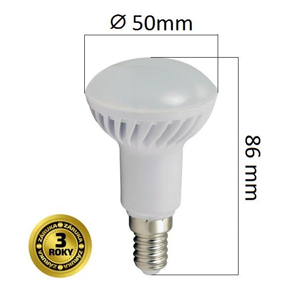 LED žárovka E14  5W 400lm R50 teplá, 3 roky
