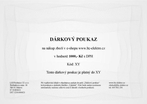 Dárkový poukaz na 1.000,- Kč ltc-elektro.cz