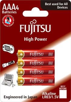 Fujitsu High Power alkalická  baterie LR03/AAA, blistr 4ks