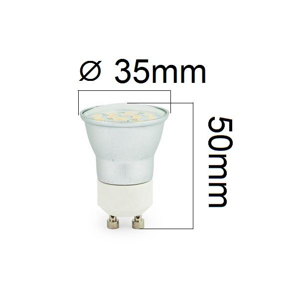 LED žárovka GU10 3W 300lm 3,5cm teplá,  ekvivalent 30W