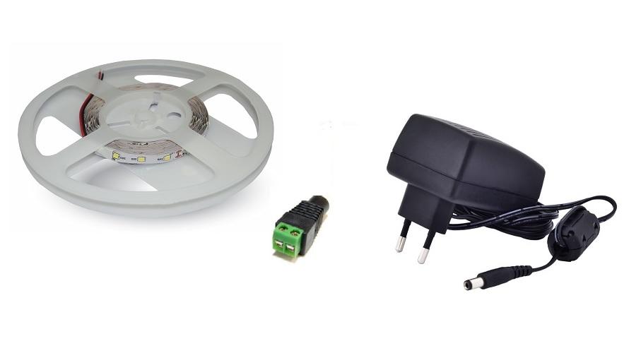 Set: LED pásek 60x3528 smd 3,6W/m, teplá + zdroj 30W + konektor