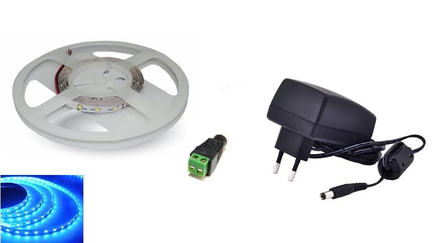 Set: LED pásek 60x3528 smd 3,6W/m, modrá + zdroj 18W + konektor