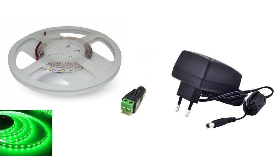 Set: LED pásek 60x3528 smd 3,6W/m, zelená + zdroj 18W + konektor