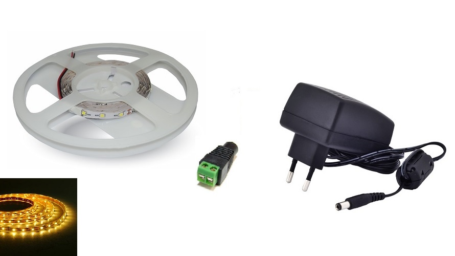 Set: LED pásek 60x3528 smd 3,6W/m, žlutá + zdroj 18W + konektor