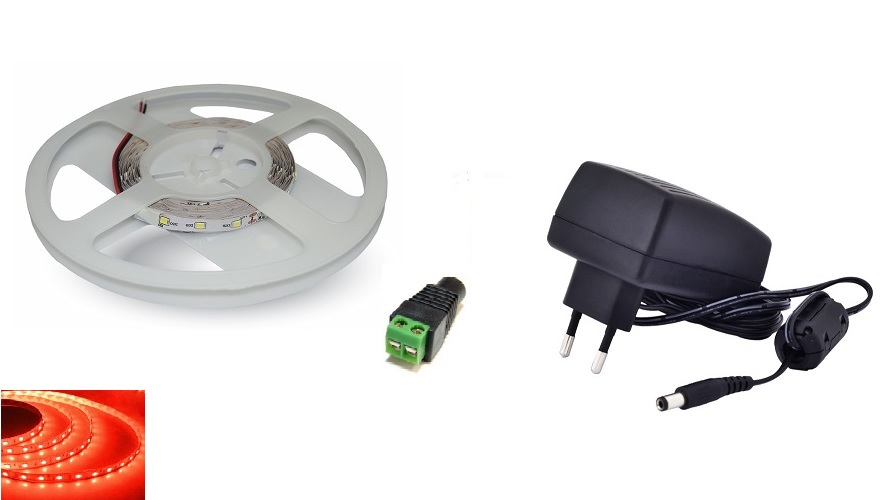 Set: LED pásek 60x3528 smd 3,6W/m, červená + zdroj 30W + konektor