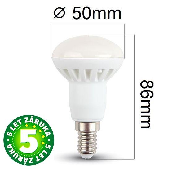 Prémiová LED žárovka E14 SAMSUNG čipy 6W 470lm R50 teplá