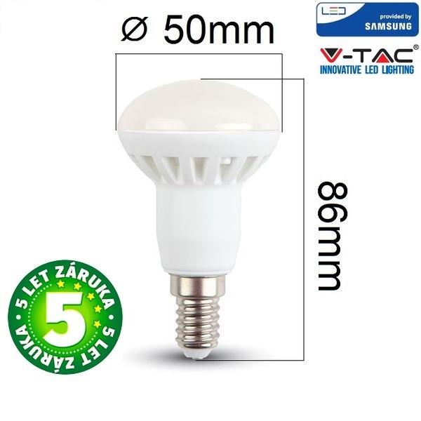 Prémiová LED žárovka E14 SAMSUNG čipy 6W 470lm R50 teplá, 5 let