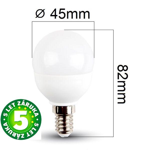 Prémiová LED žárovka E14 SAMSUNG čipy 5,5W 470lm G45, denní
