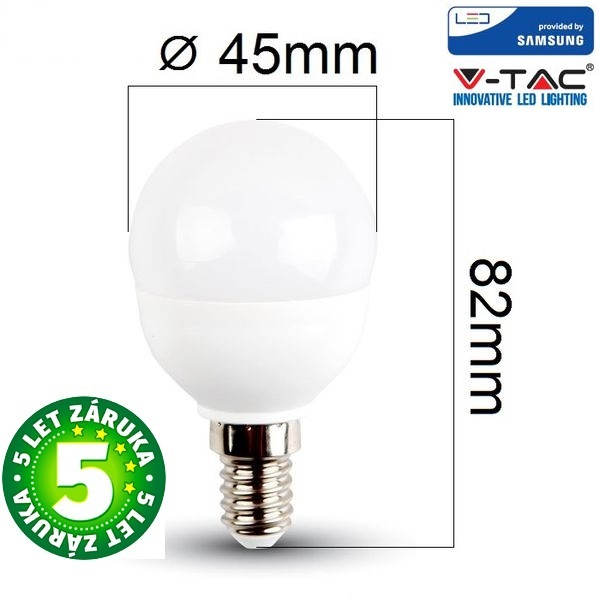Prémiová LED žárovka E14 SAMSUNG čipy 5,5W 470lm G45 teplá, 5 let