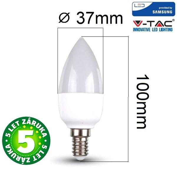 Prémiová LED žárovka E14 SAMSUNG čipy 5,5W 470lm, denní, 5 let