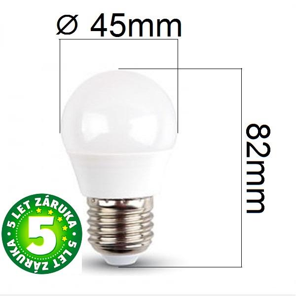 Prémiová LED žárovka E27 SAMSUNG čipy 5,5W 470lm G45, denní