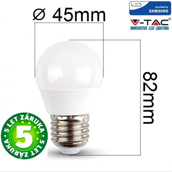 Prémiová LED žárovka E27 SAMSUNG čipy 5,5W 470lm G45, denní, 5 let