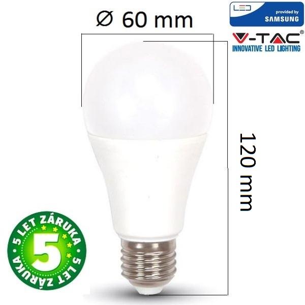 Prémiová LED žárovka E27 SAMSUNG čipy 11W 1055lm, denní, 5 let