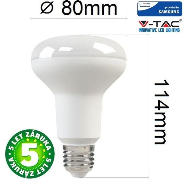 Prémiová LED žárovka E27 SAMSUNG čipy 10W 800lm R80 teplá, 5 let