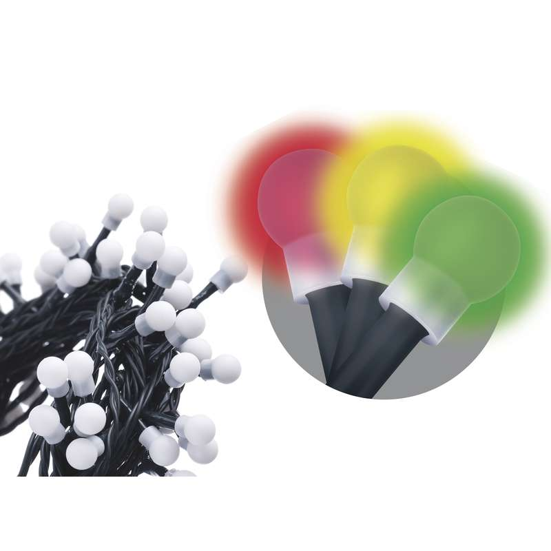 LED vánoční řetěz 3,6W  vícebarevný, 8m, voděodolný, časovač