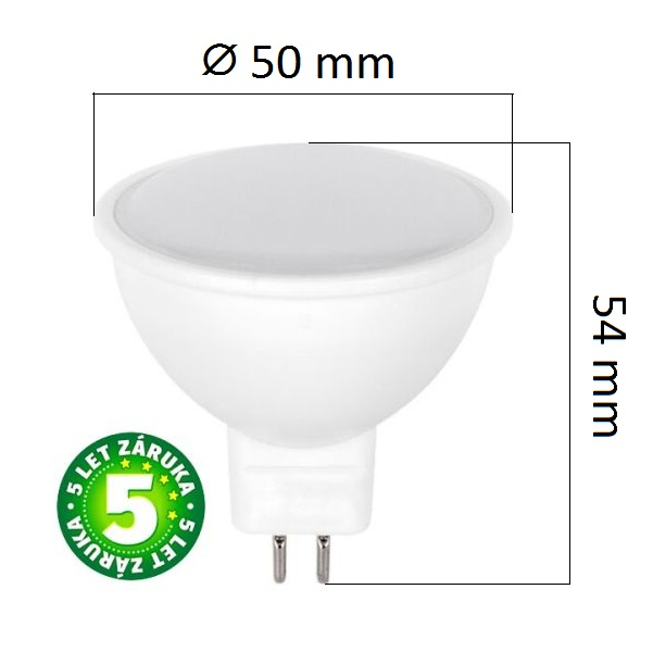 LED žárovka MR16 5W 320lm 12V teplá, ekvivalent 30W, 5 let