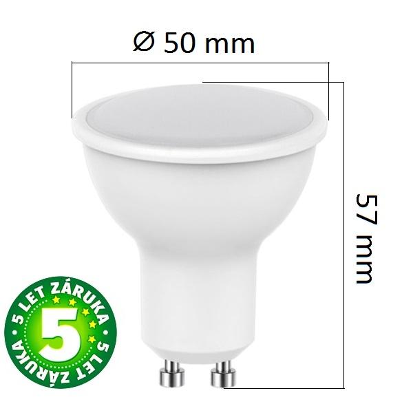 LED žárovka  GU10 5W 320lm, denní, ekvivalent 30W, 5 let