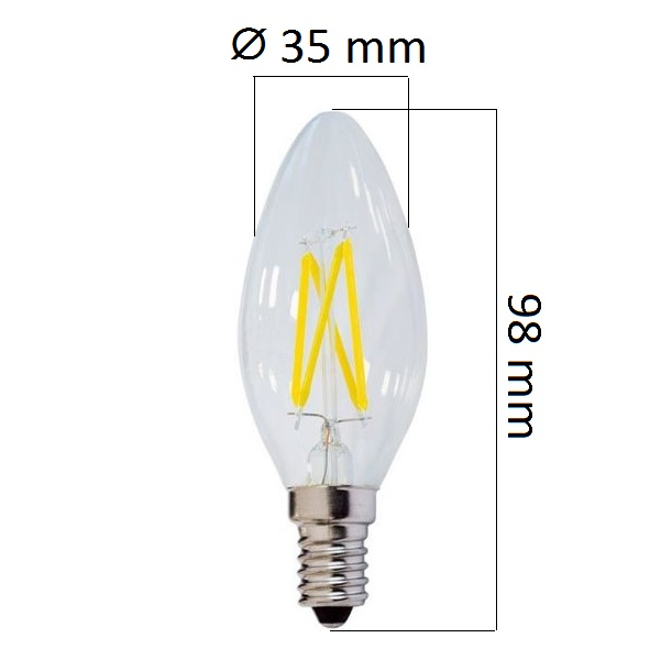 Retro  LED žárovka E14 4W 400lm, studená, filament, ekvivalent 32W