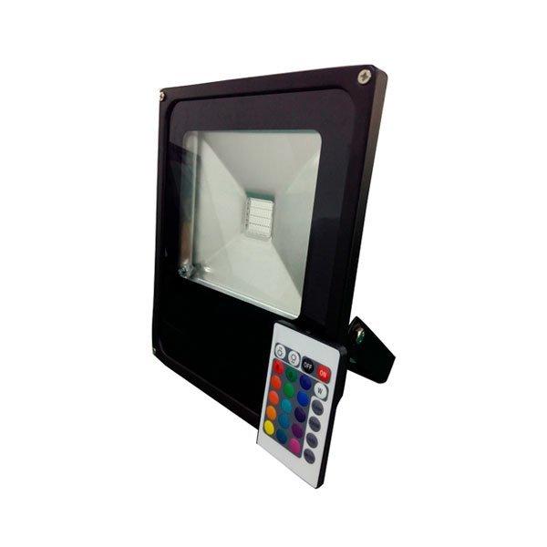 Ultratenký LED reflektor černý 10W 600lm RGB s ovladačem
