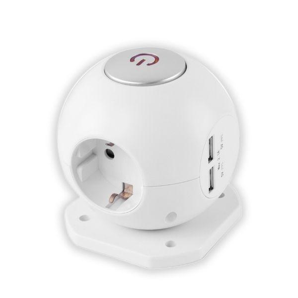 POWER BALL prodlužovací kabel - 3 zásuvky, 2 USB, 1,5m, bílý s vypínačem 3G1.5
