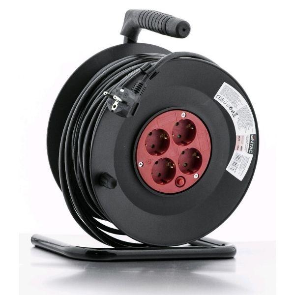 SCHUKO prodlužovací kabel na bubnu – 4 zásuvky, 50m, 3G1.5
