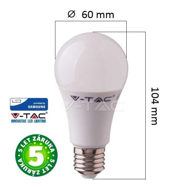 Prémiová LED žárovka E27 SAMSUNG čipy 6,5W 806lm, studená, 5 let