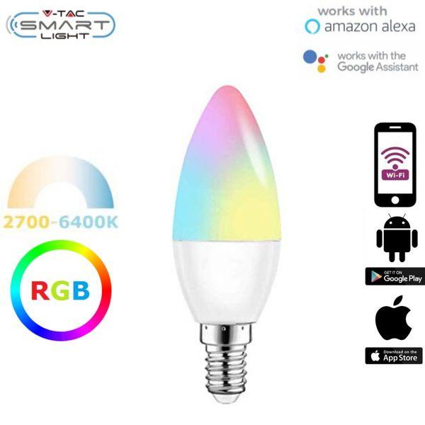 Chytrá LED žárovka E14 5W WIFI RGB + teplá, denní, studená (SMART)
