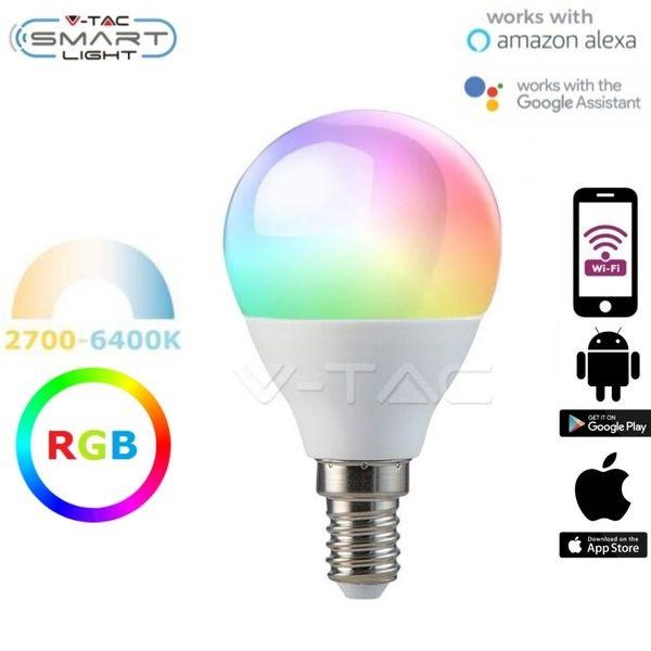 Chytrá LED žárovka E14 5W G45 WIFI RGB + teplá, denní, studená (SMART)