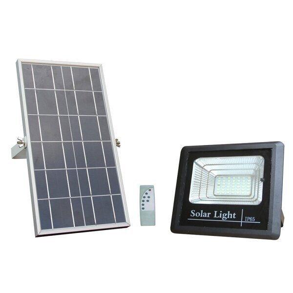 Solární LED reflektor černý 12W 800lm, studená, s dálkovým ovládáním