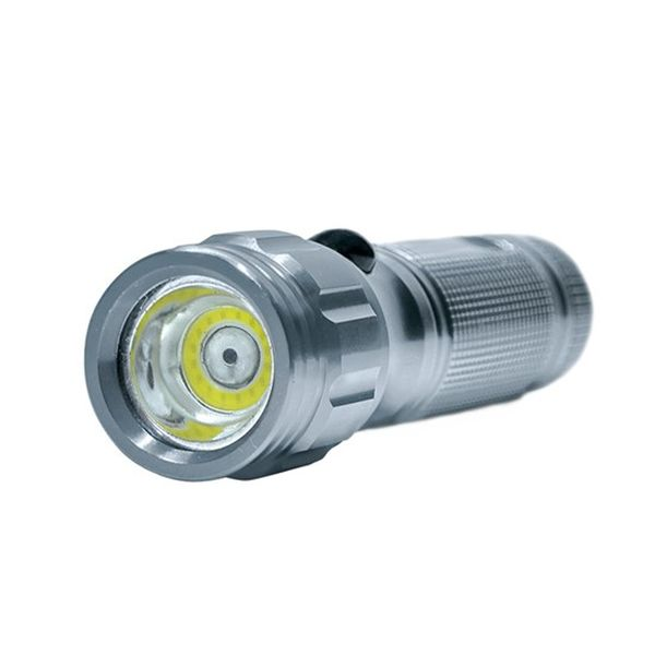 Svítilna, 3W COB + infra laser,  stříbrná, 3x AAA, se šňůrkou