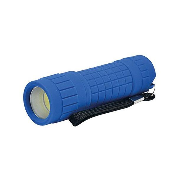 LED Svítilna, 3W  LED COB, 120lm, 3 x AAA modrá