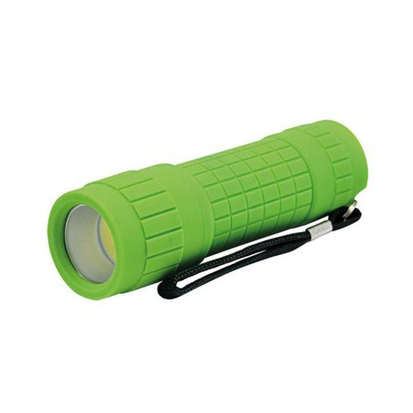 LED Svítilna, 3W  LED COB, 120lm, 3 x AAA zelená
