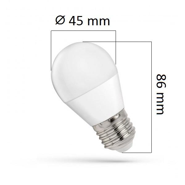 LED žárovka E27 8W 680lm G45, studená, ekvivalent 50W