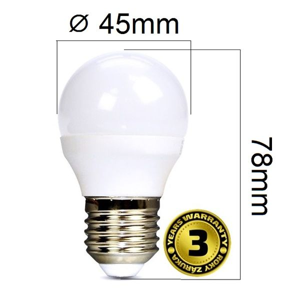 LED žárovka E27 6W 450lm G45 teplá, ekvivalent 37W